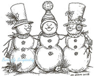 Snowman Trio With Top Hats Winter, Wood Mounted Rubber Stamp NORTHWOODS - P8782