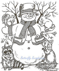 Snowman With Animal Friends, Wood Mounted Rubber Stamp NORTHWOODS - NEW, P7744