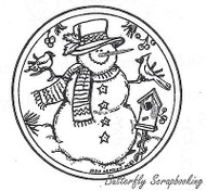 Snowman With Bird Circle, Wood Mounted Rubber Stamp New NORTHWOODS - CC4876