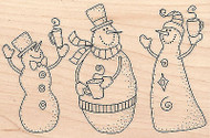 Snowmen With Hot Cocoa Mugs Wood Mounted Rubber Stamp IMPRESSION OBSESSION New