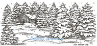 Snowy Cabin Forest Scene Wood Mounted Rubber Stamp Northwoods Rubber Stamp New