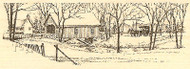 Snowy Covered Bridge Winter Wood Mounted Rubber Stamp Impression Obsession NEW