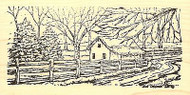 Snowy Fence Road & Cabin, Wood Mounted Rubber Stamp NORTHWOODS - NEW, O8346