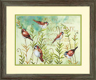 Sparrow Birds On Ferns Stamped Cross Stitch Dimensions Cross Stitch Kit NEW