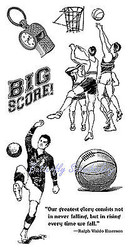 SPORTS Basketball Soccer Cling Unmounted Rubber Stamp Set Graphic 45 IC0300 New