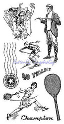 SPORTS Golf Tennis Ski Cling Unmounted Rubber Stamp Set Graphic 45 IC0301 New