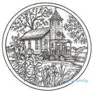 Spring Church Circle Scene Wood Mounted Rubber Stamp Northwoods Rubber Stamp New