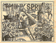 SPRING Flower Garden Wood Mounted Rubber Stamp Impression Obsession H1807 NEW