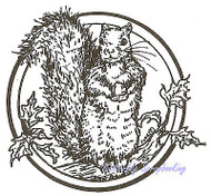 Squirrel Circle Wood Mounted Rubber Stamp Northwoods Rubber Stamp CC4655 New