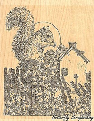 Squirrel On Fence Scene Wood Mounted Rubber Stamp IMPRESSION OBSESSION H1971 New