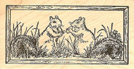 Squirrel Pair In Rectangle, Wood Mounted Rubber Stamp NORTHWOODS - NEW, O9745