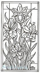 Stained Glass Iris Flowers, Wood Mounted Rubber Stamp NORTHWOODS - O4594