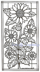 Stained Glass Sunflowers, Wood Mounted Rubber Stamp NORTHWOODS - NEW, O4596