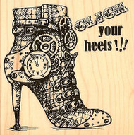 Steam Punk Heels Wood Mounted Rubber Stamp Stampendous Stamp W090 NEW