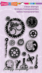 Steampunk Gears Watch Works Perfectly Clear Unmounted Stamps Set Stampendous NEW