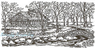 Stone Cottage Bridge Scene Wood Mounted Rubber Stamp Northwoods Rubber Stamp New