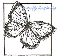 Sulphur Butterfly Square Wood Mounted Rubber Stamp Northwoods Rubber Stamp New