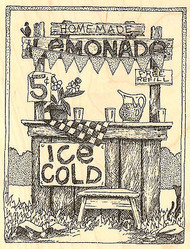 Summer Kids Lemonade Stand Wood Mounted Rubber Stamp Impression Obsession NEW