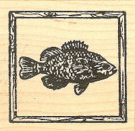 Sunfish In Frame, Wood Mounted Rubber Stamp NORTHWOODS - NEW, CC9738