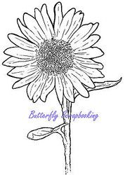 SUNFLOWER Blossom Flower Cling Unmounted Rubber Stamp MAGENTA C42210-P NEW
