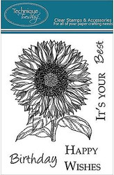 SUNFLOWER FLOWER Stamp Set Clear Unmounted Rubber Stamps TECHNIQUE TUESDAY New