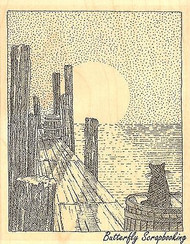 Sunset Over Pier, Wood Mounted Rubber Stamp IMPRESSION OBSESSION - NEW, H1972