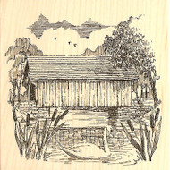 Swan With Covered Bridge Wood Mounted Rubber Stamp Impression Obsession H1623NEW