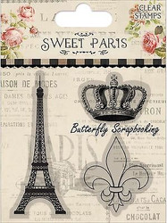 SWEET PARIS Clear Unmounted Rubber Stamps Set TRIMCRAFT DCCS044 New