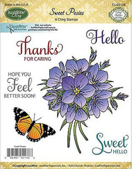 SWEET POSIES Stamp Set Cling Unmounted Rubber Stamps by JustRight CL-02138 NEW