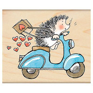 Sweet Ride Valentine Hedgehog, Wood Mounted Rubber Stamp PENNY BLACK- NEW, 4299J