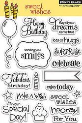 Sweet Wishes Stamp Set Clear Unmounted Rubber Stamp Set PENNY BLACK 30-104 New