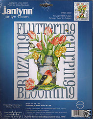 TANAGER with TULIPS Janlynn Craft Stamped Cross Stitch Kit #007-0300 NEW