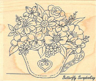 Tea Cup Flowers, Wood Mounted Rubber Stamp IMPRESSION OBSESSION - NEW, E16019
