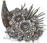 Thanksgiving Cornucopia Floral Wood Mounted Rubber Stamp NORTHWOODS PP9613 New