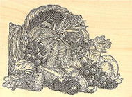 Thanksgiving CORNUCOPIA Wood Mounted Rubber Stamp Impression Obsession F2503 NEW