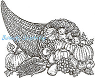 Thanksgiving Cornucopia, Wood Mounted Rubber Stamp NORTHWOODS - NEW, P745