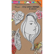 The Look, Cling-style Unmounted Stamp Set w/ Template STAMPENDOUS - NEW, CRS7005