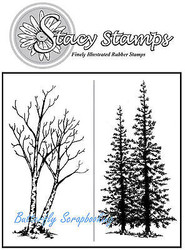 The Woods 2 Trees Cling Unmounted Rubber Stamps Stacy Stamps 241TT NEW