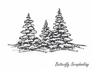 Three Snowy Pines, Wood Mounted Rubber Stamp New NORTHWOODS - E685
