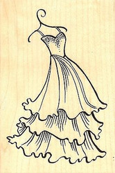 Tiered Dress, Wood Mounted Rubber Stamp STAMPENDOUS, NEW - P255