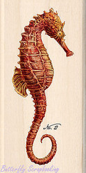 Tim Coffey Red Seahorse Wood Mounted Rubber Stamp by INKADINKADO 60-00977 NEW