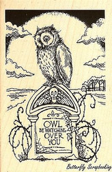 Tombstone Owl Halloween, Wood Mounted Rubber Stamp STAMPENDOUS, NEW - P241