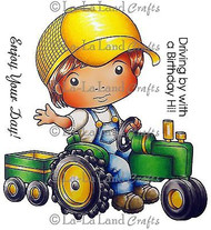 Tractor Luka Stamp Set Cling Unmounted Rubber Stamp La La Land Crafts 5176 New