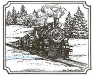 Train In Notched Rectangle, Wood Mounted Rubber Stamp NORTHWOODS - NEW, M8832