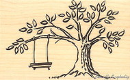 Tree Swing, Wood Mounted Rubber Stamp STAMPENDOUS, NEW - P121