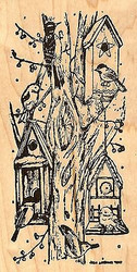 Tree Trunk Birdhouses, Wood Mounted Rubber Stamp NORTHWOODS - NEW, O7141
