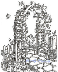 Trellis Flowers Birds Wood Mounted Rubber Stamp Northwoods Rubber Stamp New