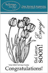 TULIP FLOWERS Stamp Set Clear Unmounted Rubber Stamps TECHNIQUE TUESDAY New