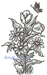 Tulips & Daisy Flowers Wood Mounted Rubber Stamp Northwoods Rubber Stamp New