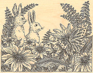 Two Bunnies, Wood Mounted Rubber Stamp IMPRESSION OBSESSION - NEW, H1948